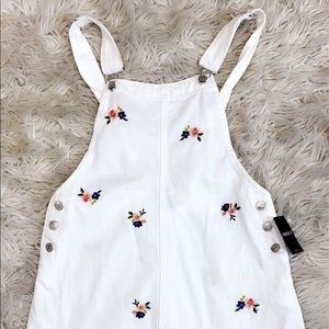 White/Floral/Denim Overall Skirt